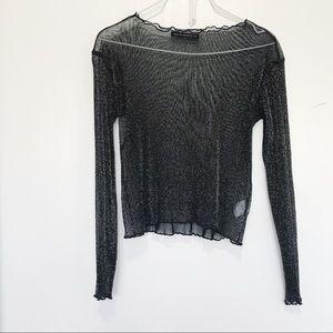 Brandy Melville glitter Rene long sleeve sheer top